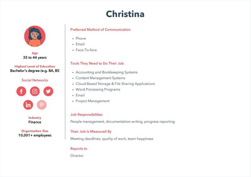 hubspot persona example for design brief